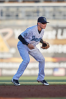 Tampa Tarpons second baseman Diego Castillo (19) during a game against the Daytona Tortugas on April 18, 2018 at George M. Steinbrenner Field in Tampa, Florida.  Tampa defeated Daytona 12-0.  (Mike Janes/Four Seam Images)