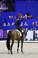 OMAHA, NEBRASKA - APR 1: Carl Hester tips his hat after his ride during the FEI World Cup Dressage Final II at the CenturyLink Center on April 1, 2017 in Omaha, Nebraska. (Photo by Taylor Pence/Eclipse Sportswire/Getty Images)