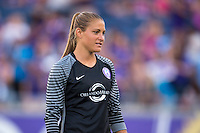 Orlando, Florida - Sunday, May 14, 2016: Orlando Pride goalkeeper Aubrey Bledsoe (19) enters the field during the introduction of a National Women's Soccer League match between Orlando Pride and New York Flash at Camping World Stadium.