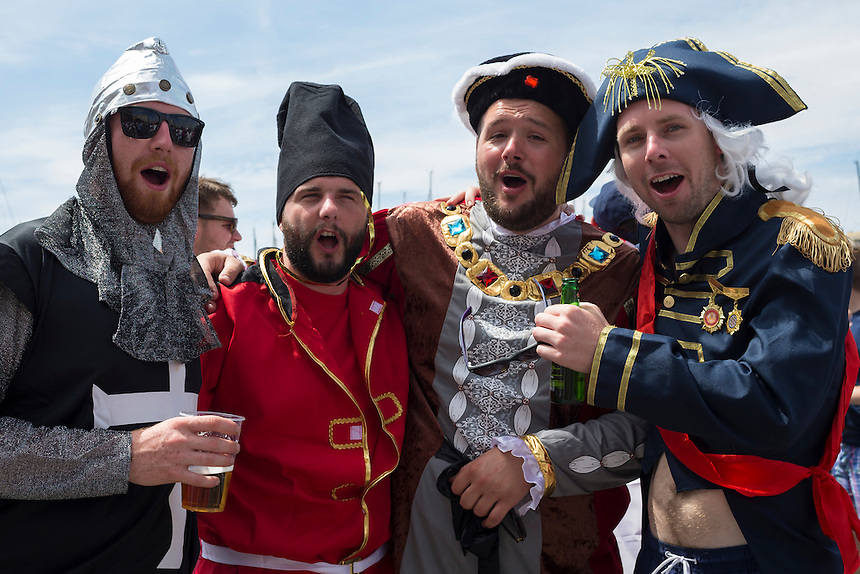 England fans in medieval fancy dress enjoy the pre-match build up in Marseille old town before the game<br /> <br /> Photographer Craig Mercer/CameraSport<br /> <br /> International Football - 2016 UEFA European Championship - Group B - England v Russia - Saturday 11th June 2016 - Stade Velodrome, Marseille - France <br /> <br /> World Copyright &copy; 2016 CameraSport. All rights reserved. 43 Linden Ave. Countesthorpe. Leicester. England. LE8 5PG - Tel: +44 (0) 116 277 4147 - admin@camerasport.com - www.camerasport.com