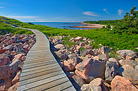 Wooden walkway along the at Green Cove Trail through the rocky shoreline along the Cabot Strait (Atlantic Ocean). Cabot Trail. Cape Breton Island.<br />