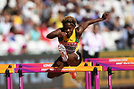 Megan SIMMONDS (JAM) clears the last hurdle in the womens 100m hurdles heats. IAAF world athletics championships. London Olympic stadium. Queen Elizabeth Olympic park. Stratford. London. UK. 11/08/2017. ~ MANDATORY CREDIT Garry Bowden/SIPPA - NO UNAUTHORISED USE - +44 7837 394578