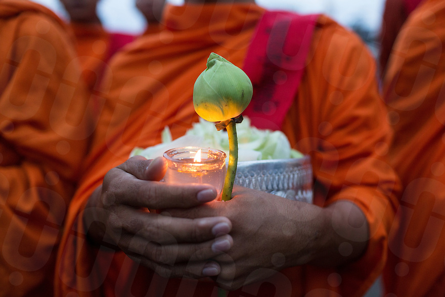 November 21, 2013 - Phnom Penh, Cambodia. Monks hold a commemoration ceremony for Cambodian journalists that have been killed for reporting news.  © Nicolas Axelrod / Ruom