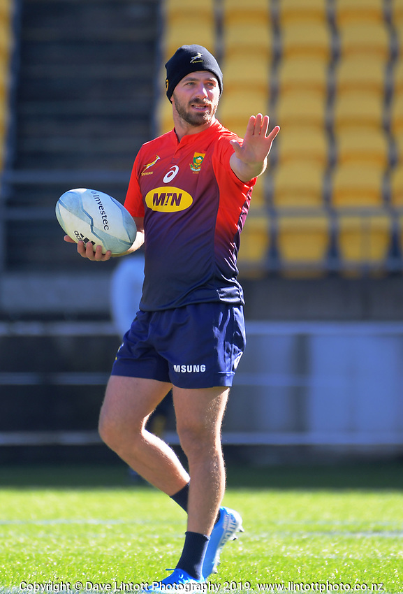 Willie le Roux during the Rugby Championship South Africa Springboks captain's run training session at Westpac Stadium in Wellington, New Zealand on Friday, 26 July 2019. Photo: Dave Lintott / lintottphoto.co.nz