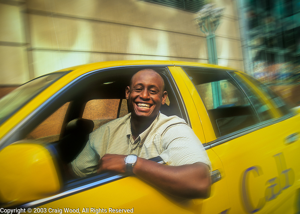 Yellow Cab Denver >> Taxi Cab Driver Smiling Happy Blue Collar Worker With
