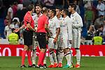 Real Madrid's Lucas Vazquez Sergio Ramos and Daniel Carvajal during the match of La Liga between Real Madrid  and Villarreal Club de Futbol at Santiago Bernabeu Estadium in Madrid. September 21, 2016. (ALTERPHOTOS/Rodrigo Jimenez)