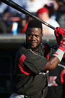 Edwin Moreno (15) of the Lake Elsinore Storm practices his batting stance before a game against the Inland Empire 66ers at San Manuel Stadium on April 29, 2017 in San Bernardino, California. Inland Empire defeated Lake Elsinore, 3-1. (Larry Goren/Four Seam Images)