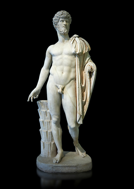Roman staue of Lucius Verus with the idealised body of Diomedes, AD 160-170, inv 6095, Naples National Archaeological Museum, black background
