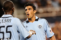 Julio Cesar, Jeferson Sporting KC in discussion... Sporting Kansas City defeated Real Salt Lake 2-0 at LIVESTRONG Sporting Park, Kansas City, Kansas.