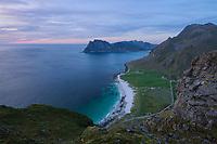 Twilight view overlooking Uttakleiv beach, Vestvågøy, Lofoten Islands, Norway