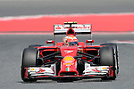 Ferrari's driver Kimi Raikkonen drives during a classification session at the Circuit de Catalunya on May 10, 2014.<br /> PHOTOCALL3000/PD