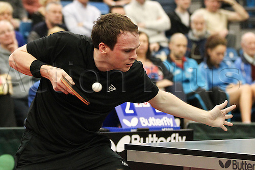 03.03.2013 Sheffield, England.  Paul Drinkhall in action during the final of the English National Table Tennis Championships from the Ponds Forge International Sports Centre.