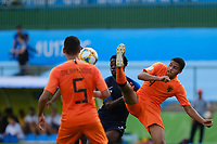 17th November 2019; Bezerrao Stadium, Brasilia, Distrito Federal, Brazil; FIFA U-17 World Cup football 3rd placed game 2019, Netherlands versus France; Devyne Rensch of Netherlands  with a high boot on Nathanael Mbuku of France<br />  - Editorial Use