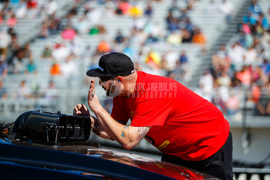 Mar 18, 2017; Gainesville , FL, USA; Adam Rhoades, crew chief for NHRA top alcohol funny car driver Bryan Brown during qualifying for the Gatornationals at Gainesville Raceway. Mandatory Credit: Mark J. Rebilas-USA TODAY Sports