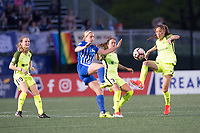 Boston, MA - Saturday April 29, 2017: Natasha Dowie and Rumi Utsugi during a regular season National Women's Soccer League (NWSL) match between the Boston Breakers and Seattle Reign FC at Jordan Field.