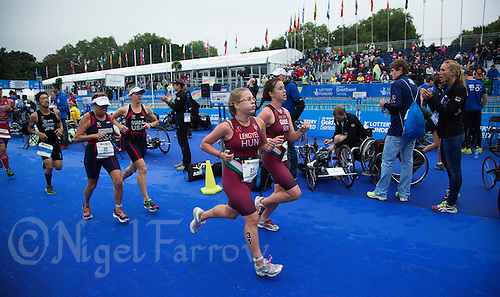 13 SEP 2013 - LONDON, GBR - Zsofia Lengyel (HUN) of Hungary, racing in the women's  TRI-6b category, runs past transition during the ITU 2013 World Paratriathlon Championships in Hyde Park in London, Great Britain (PHOTO COPYRIGHT © 2013 NIGEL FARROW, ALL RIGHTS RESERVED)