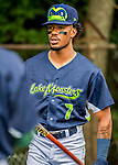 22 June 2017: Vermont Lake Monsters outfielder James Terrell prepares to start a game against the Brooklyn Cyclones at Centennial Field in Burlington, Vermont. The Lake Monsters fell to the Cyclones 5-3 in NY Penn League action. Mandatory Credit: Ed Wolfstein Photo *** RAW (NEF) Image File Available ***