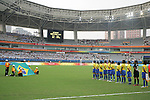18 August 2008: Brazil starting eleven face their flag during the pregame national anthem.  The women's Olympic soccer team of Brazil defeated the women's Olympic soccer team of Germany 4-1 at Shanghai Stadium in Shanghai, China in a Semifinal match in the Women's Olympic Football competition.