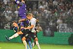 09.08.2019, BWT-Stadion am Hardtwald, Sandhausen, GER, DFB Pokal, 1. Runde, SV Sandhausen vs. Borussia Moenchengladbach, <br /> <br /> DFL REGULATIONS PROHIBIT ANY USE OF PHOTOGRAPHS AS IMAGE SEQUENCES AND/OR QUASI-VIDEO.<br /> <br /> im Bild: Matthias Ginter (Borussia Moenchengladbach #28) wird vom Knie von Yann Sommer (#1, Borussia Moenchengladbach) getroffen und muss behandelt werden<br /> <br /> Foto © nordphoto / Fabisch