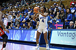 DURHAM, NC - NOVEMBER 30: Duke's Lexie Brown. The Duke University Blue Devils hosted the Ohio State Buckeyes on November 30, 2017 at Cameron Indoor Stadium in Durham, NC in a Division I women's college basketball game, and as part of the annual ACC-Big Ten Challenge. Duke won the game 69-60.