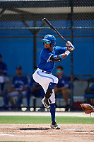 GCL Blue Jays right fielder Warnel Valdez (16) at bat during a game against the GCL Phillies West on August 7, 2018 at Bobby Mattick Complex in Dunedin, Florida.  GCL Blue Jays defeated GCL Phillies West 11-5.  (Mike Janes/Four Seam Images)