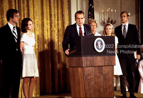 File photo from 9 August, 1974 as United States President Richard M. Nixon bids farewell to the White House staff in the East Room of the White House after he resigned the Presidency the night before. (L-R) Son-in-law David Eisenhower; daughter Julie (Nixon) Eisenhower; the President; First Lady Pat Nixon; daughter Tricia (Nixon) Cox; and son-in-law Edward Cox..Credit: Arnie Sachs / CNP