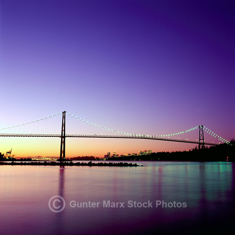 """Vancouver, BC, British Columbia, Canada - """"Lions Gate"""" Bridge, City and Downtown Skyline, Port of Vancouver Harbor / Harbour, Burrard Inlet, Summer Sunrise"""
