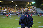 06 September 2008: U.S. head coach Bob Bradley (USA) watches Cuba warm up before the game. The United States Men's National Team defeated the Cuba Men's National Team 1-0 at Estadio Nacional de Futbol Pedro Marrero in Havana, Cuba in a CONCACAF semifinal round FIFA 2010 South Africa World Cup Qualifier.