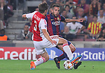 21.10.2014 Barcelona, Spain. UEFA Champions League matchday 3 Group 3. Picture show  Jordi Alba (R) and Joel Veltman (L) in action during game between FC Barcelona against Ajax at Camp Nou