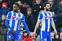 Gavin Massey of Wigan Athletic has a problem with his shorts as he celebrates with goalscorer Will Grigg of Wigan Athletic during AFC Bournemouth vs Wigan Athletic, Emirates FA Cup Football at the Vitality Stadium on 6th January 2018