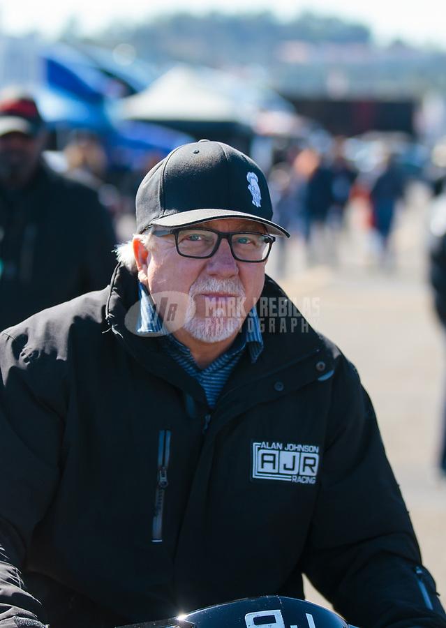 Feb 11, 2019; Pomona, CA, USA; NHRA top fuel crew chief Alan Johnson during the Winternationals at Auto Club Raceway at Pomona. Mandatory Credit: Mark J. Rebilas-USA TODAY Sports