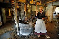 Nederland Arnhem 2015.  Wasvrouw en wastobbes in het Nederlands Openluchtmuseum.   Foto Berlinda van Dam / Nederlandse Hoogte