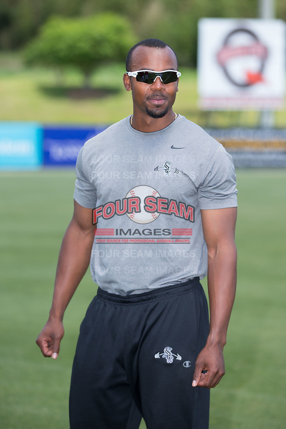 Kannapolis Intimidators conditioning coach Goldy Simmons prior to the game against the Asheville Tourists at Kannapolis Intimidators Stadium on May 7, 2017 in Kannapolis, North Carolina.  The Tourists defeated the Intimidators 4-1.  (Brian Westerholt/Four Seam Images)