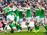 26th December 2019; Tynecastle Park, Edinburgh, Scotland; Scottish Premiership Football, Heart of Midlothian versus Hibernian FC; Martin Boyle of Hibernian celebrates after scoring the opening goal with team mates for 0-1 in the 6th minute  - Editorial Use