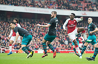 Arsenal's Danny Welbeck scoring second goal for his club during the EPL - Premier League match between Arsenal and Southampton at the Emirates Stadium, London, England on 8 April 2018. Photo by Andrew Aleksiejczuk / PRiME Media Images.