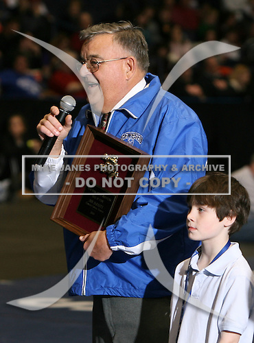 Don DeBadts of Geneseo Central School is inducted into the New York State Wrestling Hall of Fame before the NY State Wrestling Championship finals at Blue Cross Arena on March 9, 2008 in Rochester, New York.  (Copyright Mike Janes Photography)