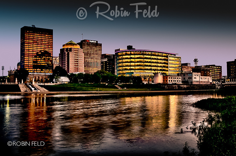 Dramatic skyline of Dayton Ohio with river