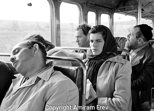 Kibbutz girl on bus to Kiryat Shmona returning from the dentist in Tiberias, 1964.