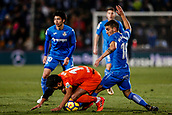 12th January 2018, Estadio Coliseum Alfonso Perez, Getafe, Spain; La Liga football, Getafe versus Malaga; Jose Luis Garcia RECIO (Malaga CF) fights for control of the ball as he is fouled by Mauro Arambarri (Get)