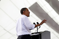 President Barack Obama gives a speech during a campaign stop at the nTelos Wireless Pavilion in Charlottesville, VA.