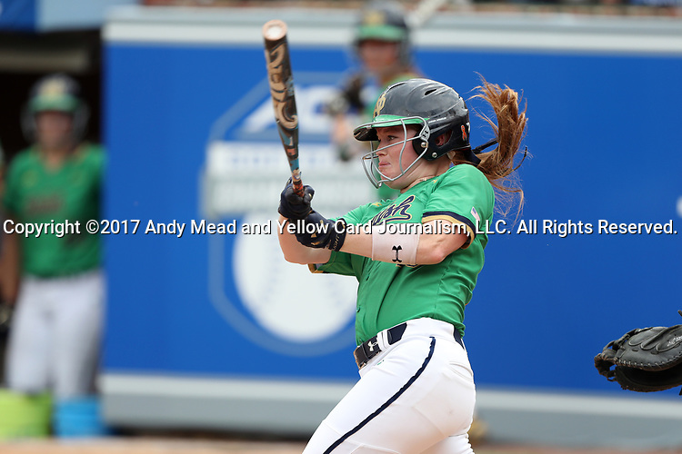 CHAPEL HILL, NC - MAY 11: Notre Dame's Kimmy Sullivan. The #4 Boston College Eagles played the #5 University of Notre Dame Fighting Irish on May 11, 2017, at Anderson Softball Stadium in Chapel Hill, NC in a 2017 Atlantic Coast Conference Tournament Quarterfinal Softball game. Notre Dame won the game 9-5 in eight innings.