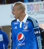 BOGOTA- COLOMBIA -19 -02-2014: Juan Ortiz, jugador de Millonarios durante partido de la sexta fecha de la Liga Postobon I 2014, jugado en el Nemesio Camacho El Campin de la ciudad de Bogota. / Juan Ortiz, player of Millonarios during a match for the sixth date of the Liga Postobon I 2014 at the Nemesio Camacho El Campin Stadium in Bogota city. Photo: Luis Ramirez / Staff