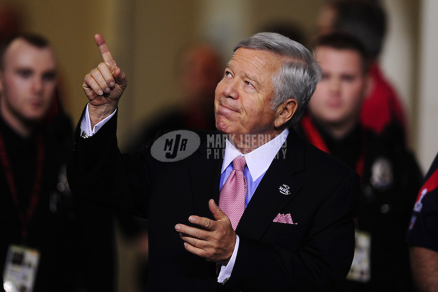 Feb 5, 2012; Indianapolis, IN, USA; New England Patriots owner Robert Kraft walks to the field for warm ups before Super Bowl XLVI against the New York Giants at Lucas Oil Stadium.  Mandatory Credit: Mark J. Rebilas-