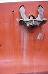 Anchor on a fishing boat in Gloucester harbor, Massachusetts