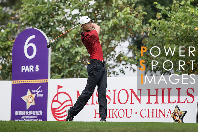 Li Haotong tees off the 6th hole during the World Celebrity Pro-Am 2016 Mission Hills China Golf Tournament on 23 October 2016, in Haikou, Hainan province, China. Photo by Victor Fraile / Power Sport Images