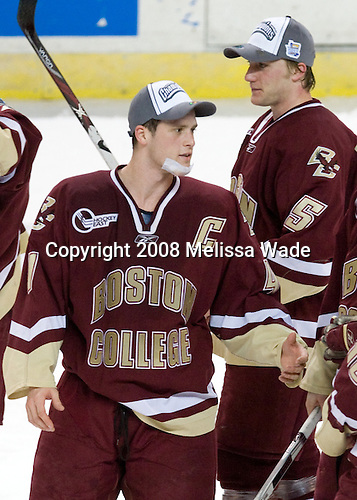 Mike Brennan (BC - 4), Tim Filangieri (BC - 5) - The Boston College Eagles defeated the Miami University RedHawks 4-3 in overtime on Sunday, March 30, 2008 in the NCAA Northeast Regional Final at the DCU Center in Worcester, Massachusetts.