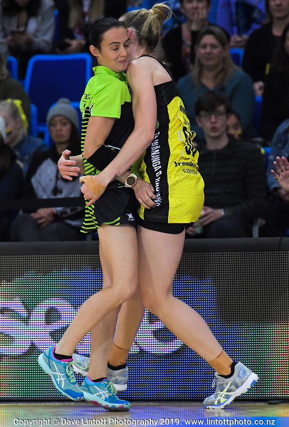 Katrina Rore collides with umpire Kristie Simpson during the ANZ Premiership netball match between the Central Pulse and Northern Mystics at Te Rauparaha Arena in Wellington, New Zealand on Wednesday, 17 April 2019. Photo: Dave Lintott / lintottphoto.co.nz