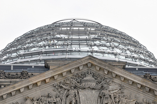 Berlin, Germany - August 11, 2009 -- View from the ground of the glass dome of the Reichstag Building, home of the German parliament the Bundestag in Berlin, Germany on Tuesday, August 11, 2009.  .Credit: Ron Sachs / CNP