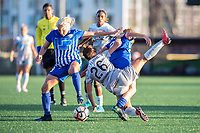 Boston, MA - Sunday May 07, 2017: Adriana Leon, Sam Witteman and Angela Salem during a regular season National Women's Soccer League (NWSL) match between the Boston Breakers and the North Carolina Courage at Jordan Field.