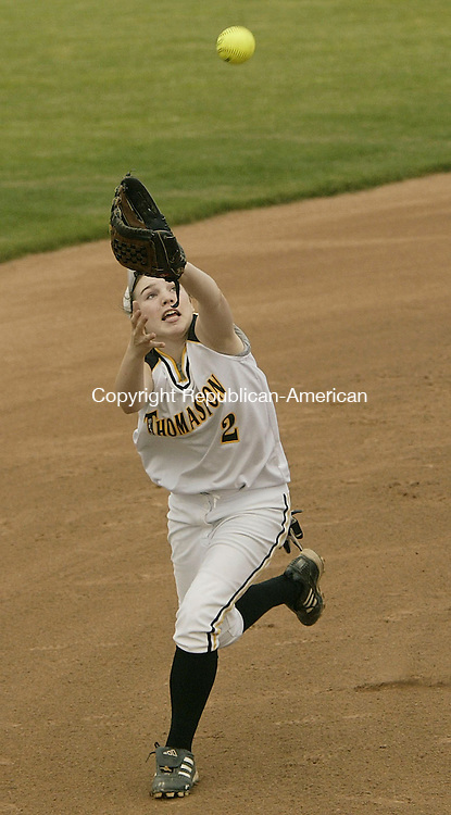 WEST HAVEN, CT - 06 June 2005 -060605BZ05-  Thomaston #2, Sara Sanford makes the out against Sacred Heart during the Class S semifinal at West Haven Monday afternoon. <br /> Jamison C. Bazinet Photo
